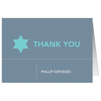 Six Points Bar Mitzvah Thank You Card