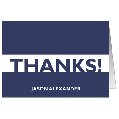 Sleek Stripe Bar Mitzvah Thank You Card