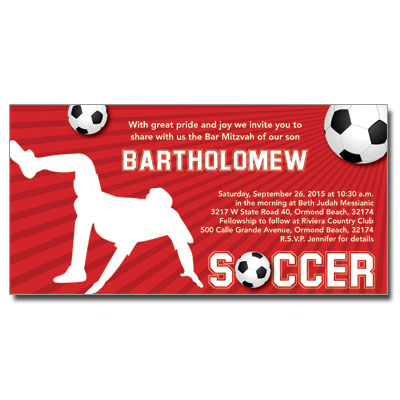 Soccer Themed Bar Mitzvah Invitation
