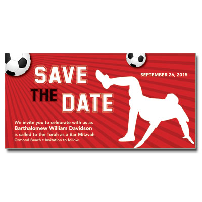 Soccer Themed Bar Mitzvah Save The Date Card with Magnet