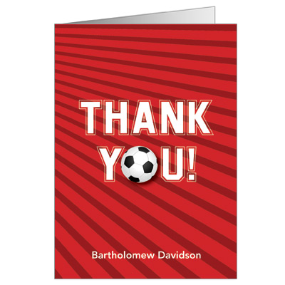 Soccer Themed Bar Mitzvah Thank You Card