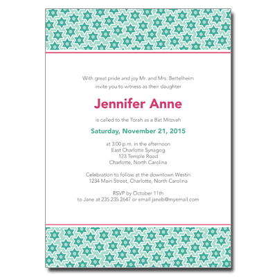 Star Pattern Green Bar Mitzvah Invitation