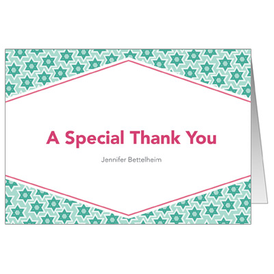 Star Pattern Green Bar Mitzvah Thank You Card