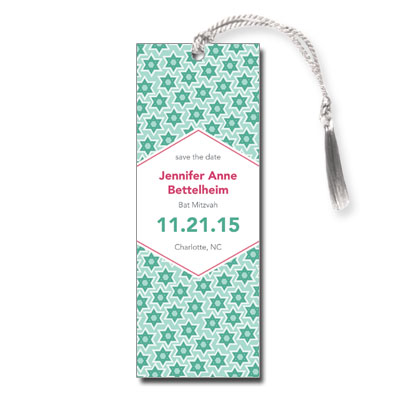 Star Pattern Green Save the Date Bar Mitzvah Bookmark