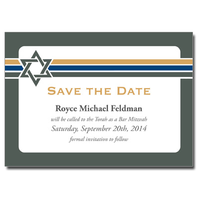 Stripes Save the Date Bar Mitzvah Card