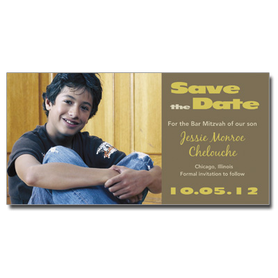 Suede Save The Date Bar Mitzvah Card With Magnet