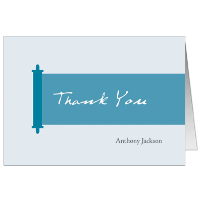 Modern Torah Blue Bar Mitzvah Thank You Card