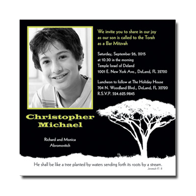 Tree Of Initiation Bar Mitzvah Invitation