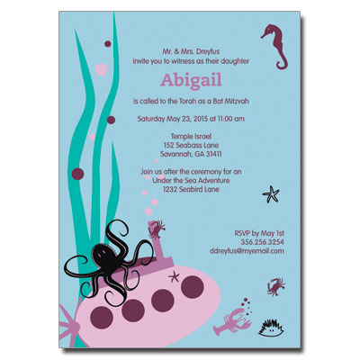 Under The Sea Purple Bat Mitzvah Invitation