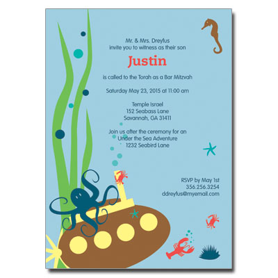 Under The Sea Bar Mitzvah Invitation