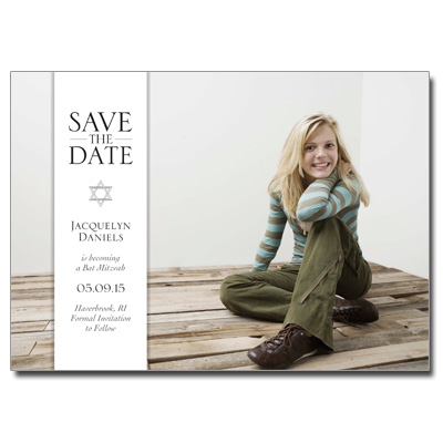 Simple Bar Save the Date Bar Mitzvah Card With Magnet - Horizontal