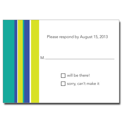 Chai Stripes Teal Bar Mitzvah Response Card