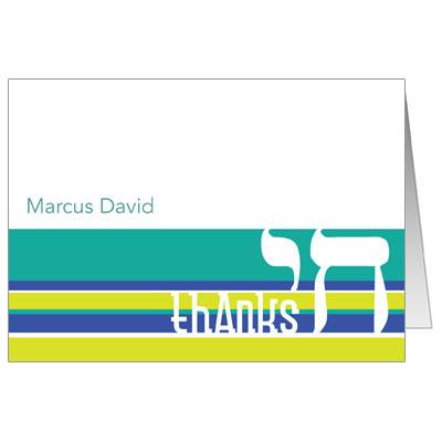 Chai Stripes Teal Bar Mitzvah Thank You Card