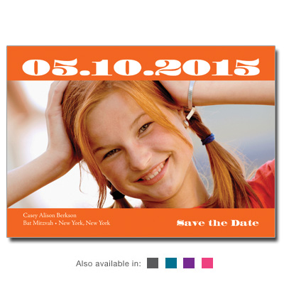 Basic Color Save The Date Bar Mitzvah Card With Magnet