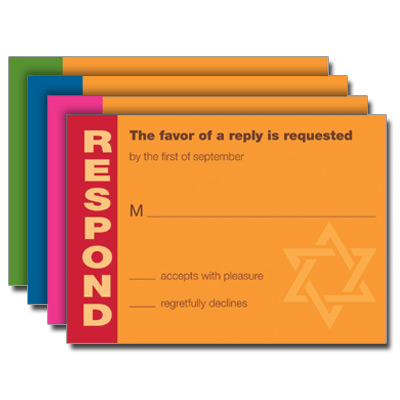 Bold Color Bar Mitzvah Response Card