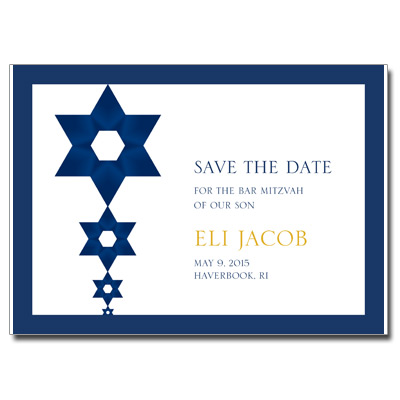 Blue and Gold Save the Date Bar Mitzvah Card