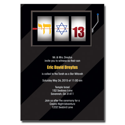 Casino Slot Machine Bar Mitzvah Invitation