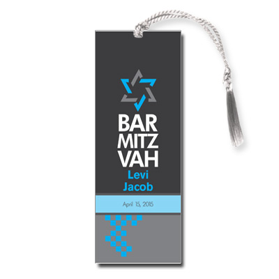 Checkered Blue Bar Mitzvah Bookmark