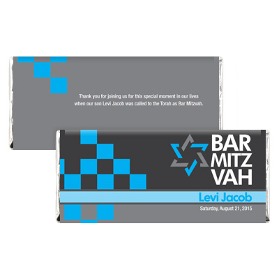 Checkered Blue Bar Mitzvah Candy Wrapper