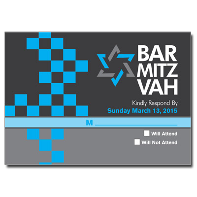 Checkered Blue Bar Mitzvah Response Card