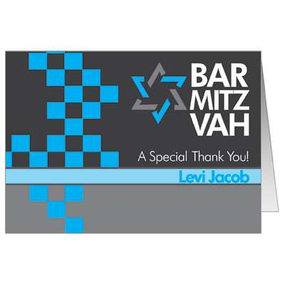 Checkered Blue Bar Mitzvah Thank You Card