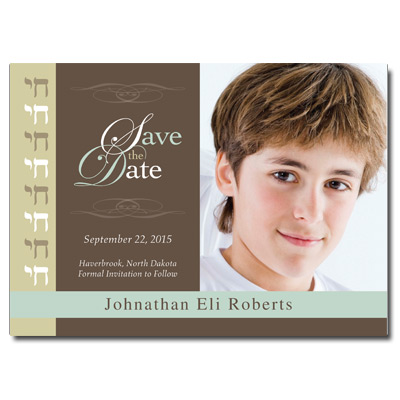 Classic Khaki Save the Date Bar Mitzvah Card With Magnet