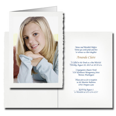 Deckle Edge Photo Bar Mitzvah Invitation - Portrait