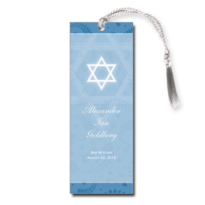 Round Blue Frame Bar Mitzvah Bookmark