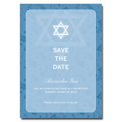 Round Blue Frame Save the Date Bar Mitzvah Card