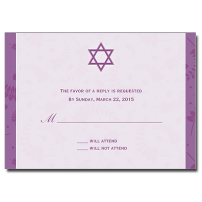 Round Orchid Frame Bat Mitzvah Response Card
