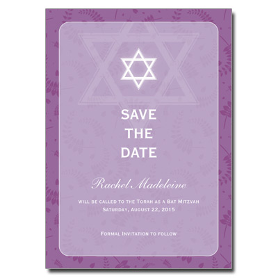 Round Orchid Frame Save the Date Bat Mitzvah card