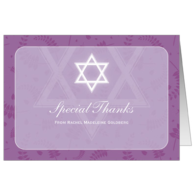 Round Orchid Frame Bat Mitzvah Thank You Card