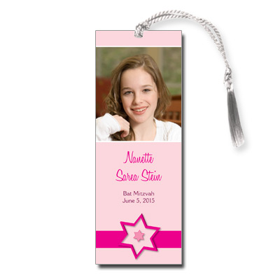 Fuchsia Star Bat Mitzvah Bookmark