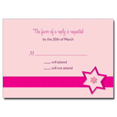 Fuchsia Star Bat Mitzvah Reply Card
