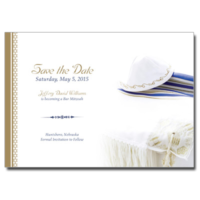 Gold Border Save the Date Bar Mitzvah Card With Magnet