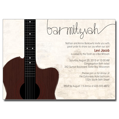 Acoustic Guitar Strings Bar Mitzvah Invitation