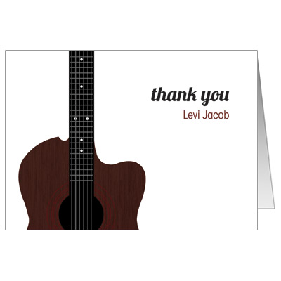 Acoustic Guitar Strings Bar Mitzvah Thank You Card