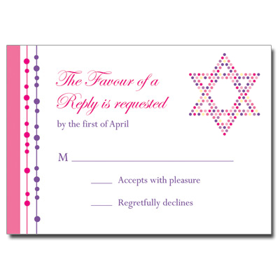 Hot Dots Bat Mitzvah Response Card