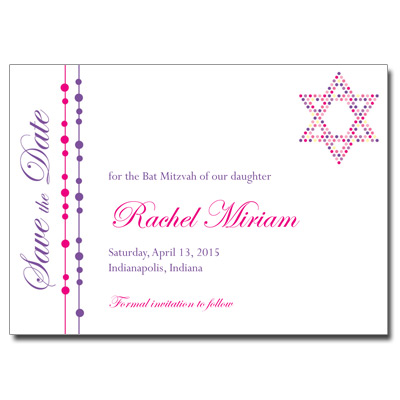 Hot Dots Save the Date Bat Mitzvah Card