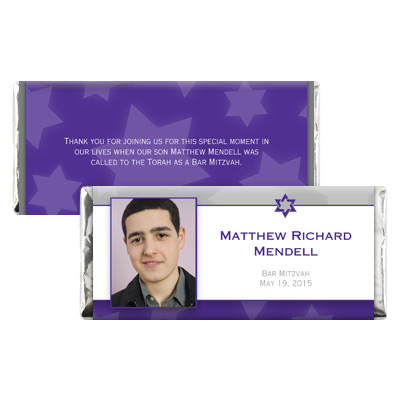 Indigo Star Bar Mitzvah Candy Wrapper