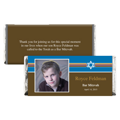 Photo Stripes Bar Mitzvah Candy Wrapper