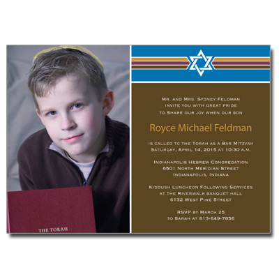 Photo Stripes Bar Mitzvah Invitation
