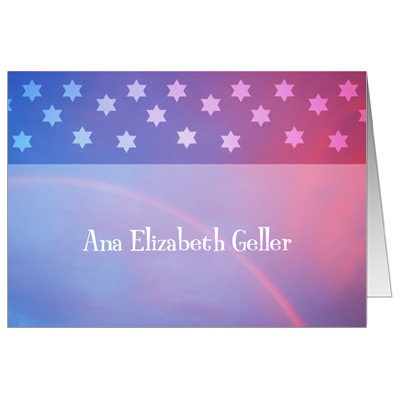Rainbow Purple Bat Mitzvah Thank You Card