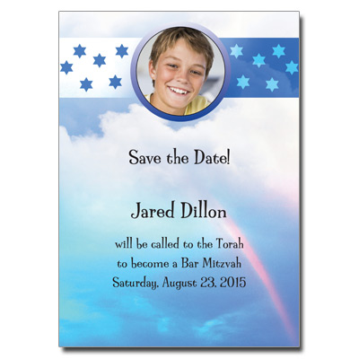 Rainbow Blue Save the Date Bar Mitzvah Card