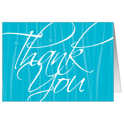Elegant Blue Script Bar Mitzvah Thank You Card