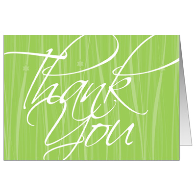 Elegant Green Script Bar Mitzvah Thank You Card