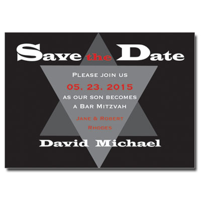 Steel Save the Date Bar Mitzvah Card With Magnet