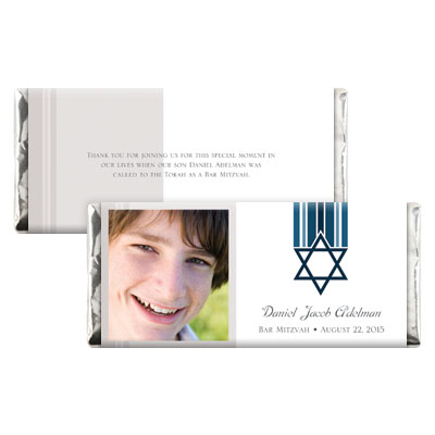 Star and Stripes Blue Bar Mitzvah Candy Wrapper