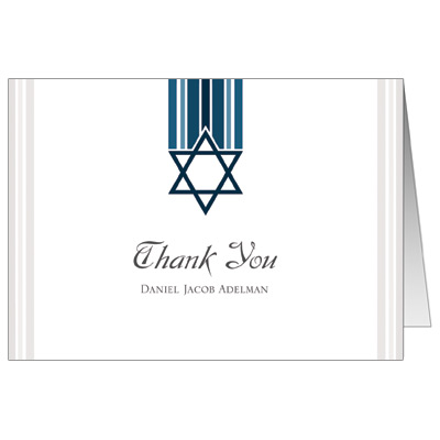 Star and Stripes Blue Bar Mitzvah Thank You Card