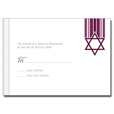 Star and Stripes Magenta Bat Mitzvah Response Card